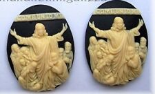 2 CHRISTIAN RELIGIOUS IVORY Color on Black JESUS COME UNTO ME 40mm x 30mm CAMEOS