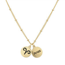 Lux Accessories Gold Tone Aries and Astrological Sign Charm Necklace