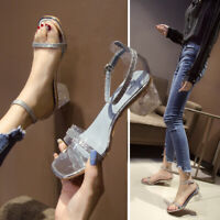 Women Ladies Glitter Perspex Open Toe Sandals Ankle Strap Clear Block Heel Shoes
