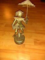 Antique Tin Spinning Music Box Send In The Clowns Wind Up Base 13 1/2 inch tall