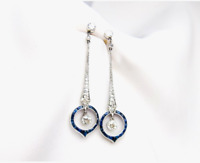 Antique Art Deco 4.20 Ctw Round Diamond & Sapphire Dangle 14K Gold Over Earrings
