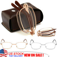 Foldable Reading Glasses Metal Frame Unisex Classic Style Lens Readers with Case