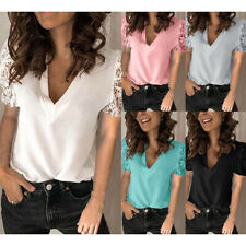 Women Casual Lace Short Sleeve T Shirt V Neck Tunic Loose Long Sleeve Blouse