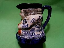 Antique 1800's TOBY pitcher with RARE blue Chinoiserie PROPHETS PAGODAS pattern