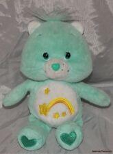 "2002 Care Bears Plush 8.5"" Soft Sweet Velvety Mint Green Wish Bear w/Star Belly"