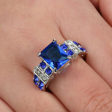 Size 6 Blue Sapphire CZ Engagement Ring Wedding Band white Gold Rhodium Plated