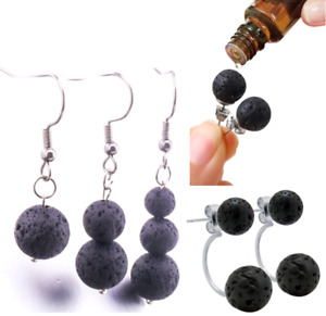 HEALING LAVA STONE STUD OR DROP AROMATHERAPY EARRINGS - Lots of styles available