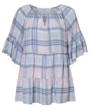 Ladies Blue Check Long Tunic Top in UK Sizes 14-26