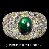 Oval Black Opal 8x6mm Sapphire Round Diamond Cut 925 Sterling Silver Ring Sz 7