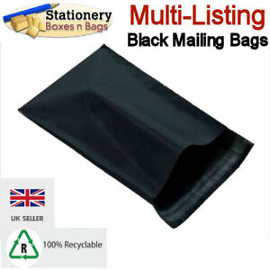 STRONG BLACK MAILING BAGS - Postage Mailers Plastic Post Polythene *RECYCLABLE*