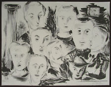 K. FORTEN Original Limited Edition Lithograph, Faces, Signed Numbered
