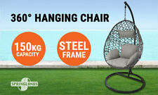 Hanging Egg Chair Swing Hammock Cushion Rattan Wicker Indoor Outdoor Lounge Grey