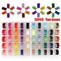 50pcs Sewing Thread Set with Plastic Bobbins Sewing Machine Spools Case