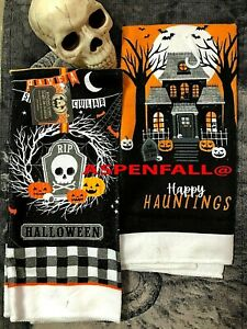 Set of 2 Have A Spooktacular Halloween & Happy Haunting Kitchen Dish Towels