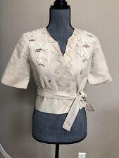 Ellie Tahari Beige Floral Applique Jacket Short  Belted Size XS Linen Blend
