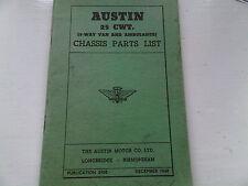 Austin 25 CWT 3-Way Van & Ambulance Chassis Parts List December 1948 Pub 390B