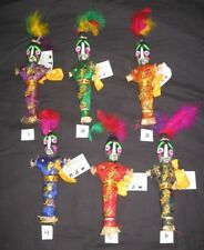 3 VooDoo Dolls 10 Inch Mardi Gras +3 Free Small Jester Magnets
