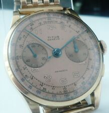 18ct Gold Titus Chronograph Wristwatch with 9ct Gold Strap