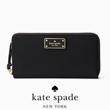 Authentic KATE SPADE Black Wilson Road Neda Nylon Continental Wallet WLRU3329-4