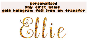 personalised any name/word gold hologram foil iron on transfer t-shirt bag gym