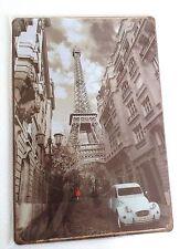 TOUR EIFFEL PARIS-PLAQUE VINTAGE RETRO en METAL-EIFFEL TOWER PLATE 30x20cm-2CV