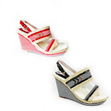 WOMENS SUMMER STRAPPY PLATFORM HIGH WEDGE HEEL SHOES LADIES SANDALS NEW SIZE 3-8