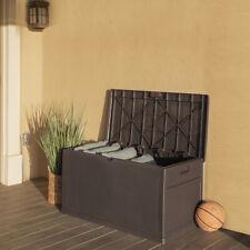 Deluxe 120 Gallon Deck Box Resin Patio Storage Bin Outdoor Container Storage Box