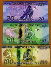 SET Solomon Islands, $20;50;100 ND (2013-2017), P-New UNC > Redesigned