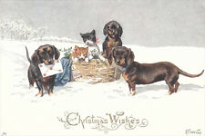 Dachshund Dogs & Kittens K. Feiertag 1911- LARGE New Blank Christmas Note Cards