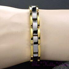 Magnetic Power Tungsten Arthritis Sports Health Unisex 24K Gold Silver Bracelet