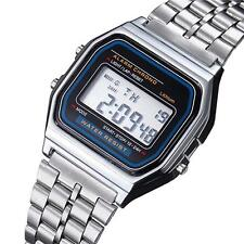 Retro Women Men Stainless Steel LED Digital Alarm Sport Stopwatch Watch Silve KJ