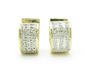 14k Yellow & White Gold Genuine Diamonds Huggie Design Hand Made Hoop Earrings