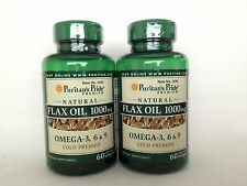 2 Puritan's Pride Natural Flax Seed Oil 1000 mg - Omega-3, 6 & 9 ** Made In USA*