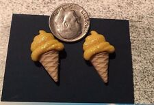 yellow sparkle Ice cream cone metal post earrings