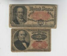 Fractional Currency Civil war era item to 1870's two old notes low grade and vg