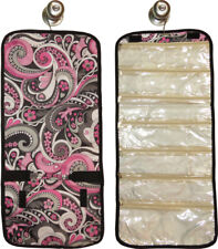 Hanging Travel Jewelry Roll (pink paisley) great for travel or home!