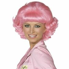 Grease Frenchy Wig Pink Short Curly Theatrical Dance Movie Fancy Dress Accessory