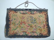Vintage Needlepoint Petit Point Tapestry  Hand Bag Purse