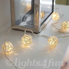Wicker Rattan Ball Indoor Bedroom Fairy String Lights With 16 Warm White LEDs