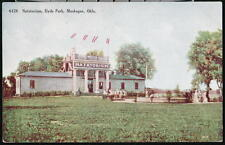 MUSKOGEE OK Hyde Park Natatorium Antique Postcard Early Old Vtg Town View PC