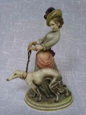 Capodimonte Bruno Merli Figurine Lady & Borzoi Dog Sculpture Italian Italy art