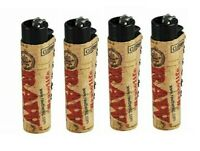 4 Ct CLIPPER Flint Lighters Refillable Adjustable RAW ECO CORK COVER HAND SEWN