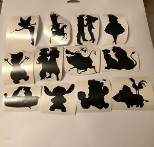disney character silhouette vinyl decals sticker water bottle glass phone laptop