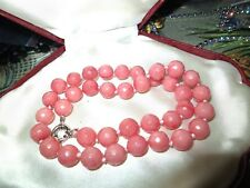 Lovely faceted 10mm pink Rhodochrosite knotted necklace