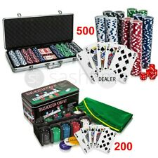 More details for professional 200/500 piece texas hold'em poker casino game chips set in case new