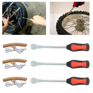 3x Tire Lever Tool Spoon Motorcycle Tyre Iron Changing+2 Wheel Rim Protector Set