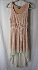 Forever 21 Dress Sleeveless Elastic Waist Lace Overlay Peach Size M   #7962