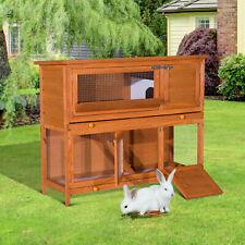 Pawhut Pet Rabbit Large Wooden Cage Hutch Animal Guinea Pig Bunny Hide Shelter