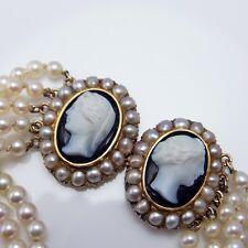 Onyx Cameo Antique Pearl Bracelet Pearl Diamond Bracelet 14K Gold Art Deco