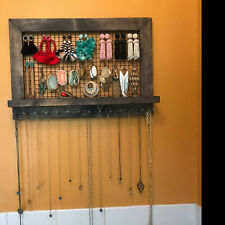 Wall Mounted Rustic Wood Jewelry Organizer, Necklace Holder Storage Rack Hanging
